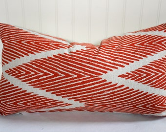 Mandarin Orange and Oatmeal Ikat Pillow Covers Designer Lacefield Bali fabric