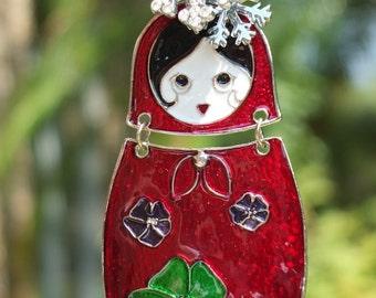 MATRYOSHKA DOLL Ornament Tree Jewelry Christmas Ornament Russian Nesting Doll RED