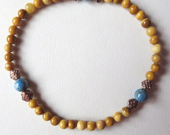 Unisex Bracelet with Yellow Jasper Denim Lapis and Copper