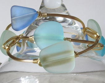 "Set of Three Sea Glass Bangles ""Bourbon and Bowties Inspired""  ""Sea Breezes""  Collection"