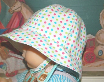 Cotton Summer Hat - Baby to Toddler to Preschool - Colorful Polka Dots