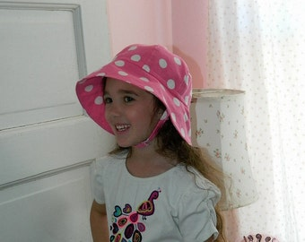 Hot Pink and White Polka Dot Hat  - Infant to Preschool