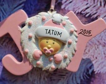 Personalized JOY Baby Girl Christmas Ornament
