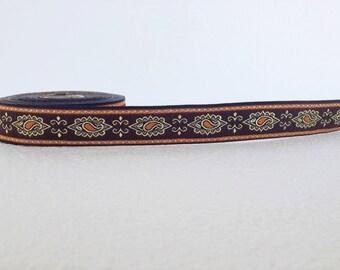 25 mm brown and orange  tears pattern Jacquard ribbon, Embroidered border, Jacquard trim, Woven Border, Craft border, white tears  ribbon