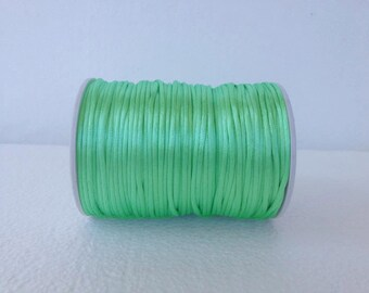 mint Rattail Cord, cola de rata, 2.5 mm Satin cord, Beading cord, Jewelery supplies, cord for bracelet, 10 meters (11 yards )