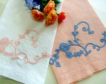 Embroidered Linen Tea Towels, Hand Towels, Guest Towels, Peach Cream Blue, Cottage Chic Home Decor Vintage Linens by TheSweetBasilShoppe