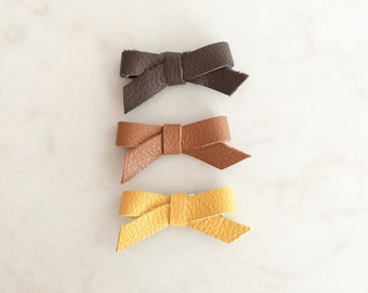 Leather Bow Clip - snap clip