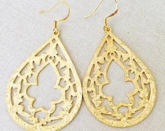 Gold Teardrop Earrings   Boho Earrings   Teardrop Earrings   Gold Earrings   Large Earrings   Dangle Earrings   Drop Earrings