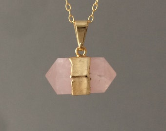 Double Pointed Gold Pink Rose Quartz Necklace