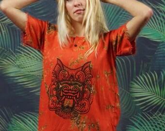 Vintage Bali batik top / tribal summer beachcomber Indonesian protection God / boho indie festival clothing