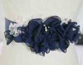 Navy Blue Chiffon Rhinestone Flower Sash Belt Bridal Wedding Sash,Bridal Belt,Baby Girl Photoshoot,Maternity Sash,Rose Blossom