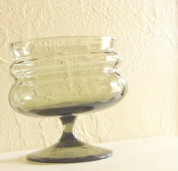 SALE Smoke Glass Vase Pedestal Bowl Black Curvy Excellent Condition