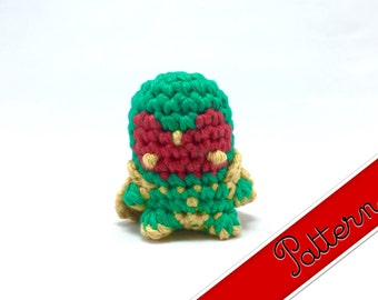 "PDF Pattern for Crocheted The Vision Amigurumi Kawaii Keychain Miniature Doll ""Pod People"""