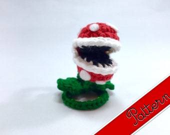 PDF Pattern for Crocheted Piranha Plant enemy from Super Mario Brothers Amigurumi Miniature Doll