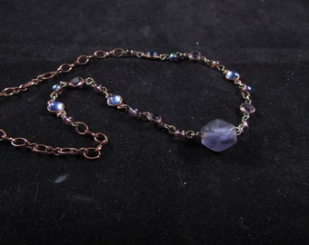 Hand beaded necklace, purple necklace, hand beaded jewelry, Delicate copper plated chain and blue and lavender hand beaded necklace