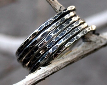 Sterling Silver Hammered and Antiqued Stacking Ring Set