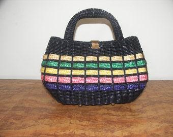 Lee Sands gorgeous vintage 1950s 1960s black rattan woven straw handbag purse