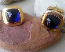 ANSON Vintage Gold Royal Purple Cabachon Cuff Links, ANSON cuff links, Gold and Purple Cuff Links, Gift for Dad, Father's Day, Gift for Him