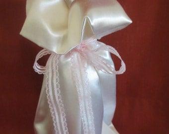 Wine Bottle Gift Bag White Silk