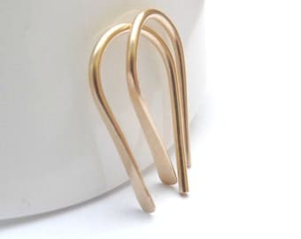 Ear Climber Earrings, 14K Gold Filled Hammered Earrings, Ear Crawler, Gold Drop Earrings, Gold Ear Bar Stud, Ear Cuff, Tiny Earrings