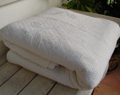 vintage French, white,  mixed heavy cotton Summer bedspread-raised leaf design-double 92''x 68'' freshly laundered