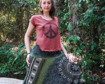 Thai Harem Pants in Cotton, Tribal Design Green & Black Circle pattern-- Aladdin Pants -- Women's Harem Pants -- Drop Crotch Style
