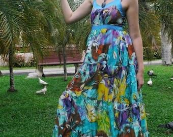 Summer Dress, cotton-- Light blue  with multicolor floral print