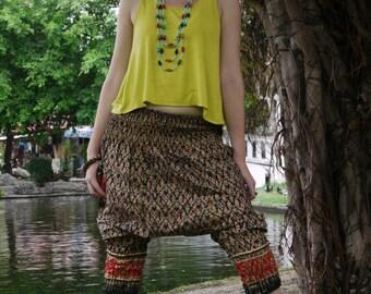 Special Short Thai  Pants, Cotton, Batik, Blue w Red/Gold Royal Design - Fantasy Pants - Women's Clothing - yoga - baggy pants - hippie -