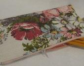 Floral Zipper Pouch Pencil Case Makeup Bag Vintage Fabric Epsteam