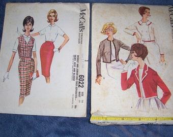 Vintage McCalls 1961 Uncut Misses Jacket..Skirt..Vest..Patterns..And...McCalls 5790..Size 18...McCalls 6022..size 16...Classic Looks..