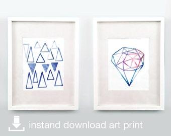 I'm Blue Duo - Digital Download Printable Watercolor Art