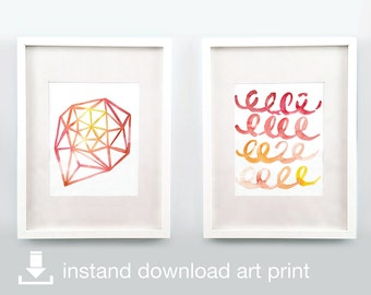 Crimson Duo - Digital Download Printable Watercolor Art
