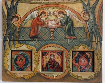 The Holy Communion, The Holy Eucharist, Original Orthodox Byzantine icon, Romanian icon, Christian icon