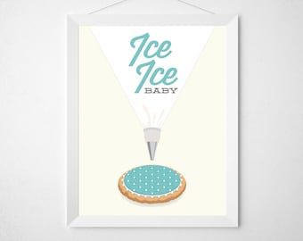 Cookie Kitchen Print - Funny modern minimal cookie baking bake baker clever typography poster retro pastry aqua teal cookie decorating art