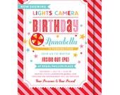 Movie Night Invitation, Girl Movie Birthday Invitation, Movie Party Invitation, Movie Ticket Invitation, Movie Night Party