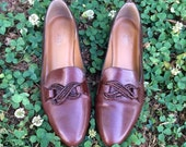 Vintage Bass Brown Leather Flats with Woven Rope Detail 7.5