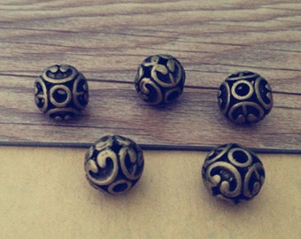 10pcs Antique bronze hollow out ball charm connector 12mm