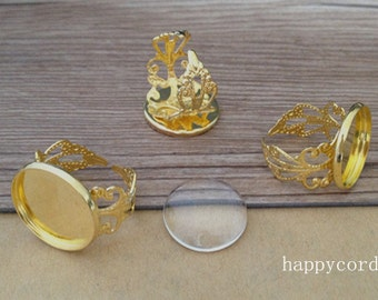 10pcs Adjustable gold color ring tray base with glass 18mm