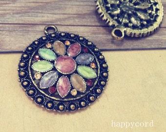 2pcs of Antique bronze flower Pendant charm  44mm