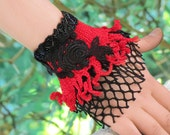Beaded Cuff Bracelet, Black Lace and red Fringed Bracelet, Turkish Lace, Textile Jewelery, Rustic Lace Arm Cuff, friendship bracelet, Croche