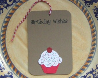 10 Hand Stamped Paper Pieced Cupcake Birthday Wishes Gift Tags