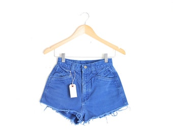 "Waist 24"" High Waisted Vintage Denim Shorts"