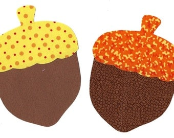 Fall acorns iron on appliques DIY