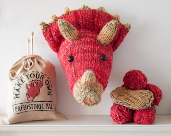 Faux Triceratops Knitting Kit - Make Your Own Prehistoric Pal - Taxidermy Dinosaur Trophy Head - Red