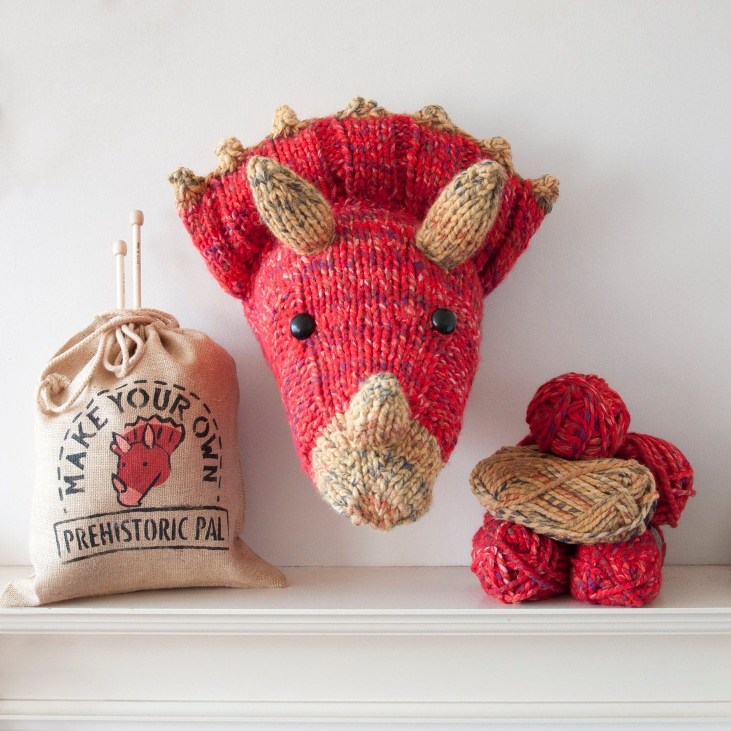 Beginner Knitting Kits Canada : Faux red triceratops knitting kit make your own