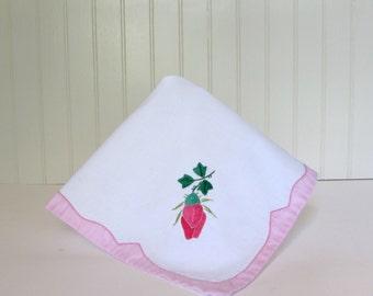 Vintage Rose Bud Guest Towel - Applique Towel - Fingertip Towel