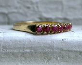 Lovely Vintage 14K Yellow Gold Ruby Wedding Band - 1.28ct.