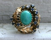 Vintage Art Nouveau 14K Yellow Gold Turquoise and Sapphire Ring.