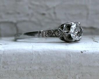 Stunning Art Deco Platinum Diamond Pave Diamond Engagement Ring - 0.41ct.
