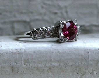 Classic Vintage Pink Tourmaline and Diamond Platinum Engagement Ring - 0.62ct